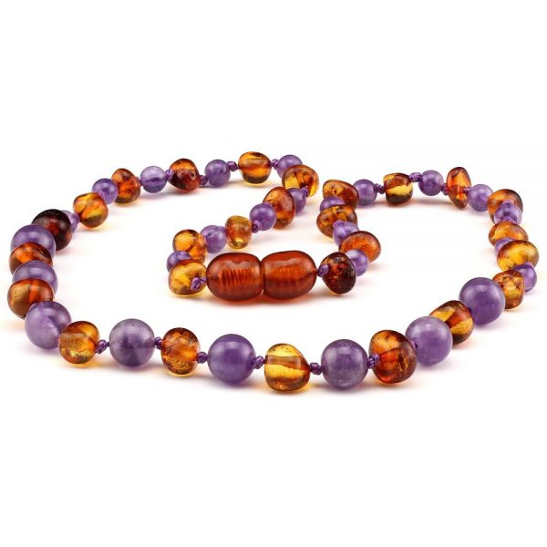 amber teething necklace amethyst