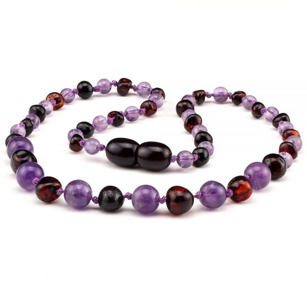 amber teething necklace amethyst black