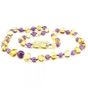 amber teething necklace amethyst lemon