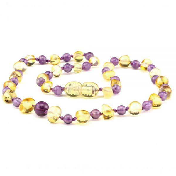 amber teething necklace amethyst lemon