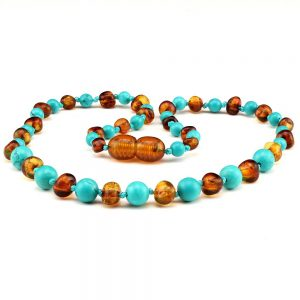 amber teething necklace cognac