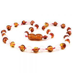 amber teething necklace cognac rose quartz
