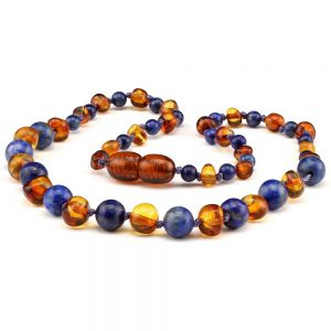 amber teething necklace lapis lazuli
