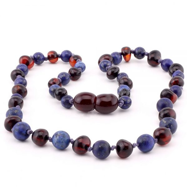 amber teething necklace lapis lazuli black
