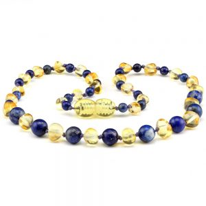 amber teething necklace lapis lazuli lemon blue