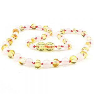 amber teething necklace rose quartz