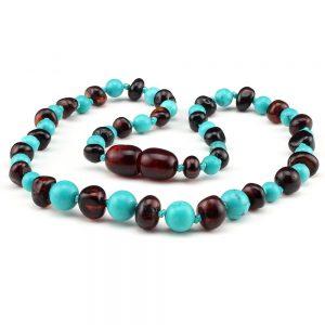 amber teething necklace turquoise