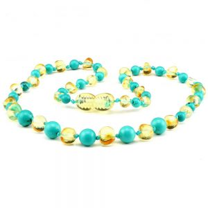 amber teething necklace turquoise lemon