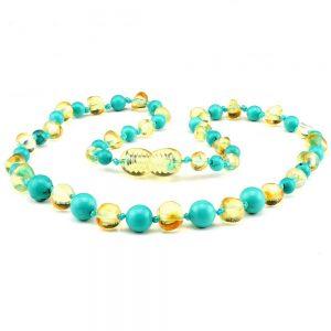 amber teething necklace turquoise lemon