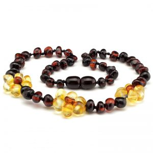amber teething necklace cherry lemon flower
