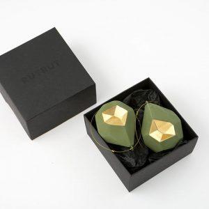 olive porcelain baubles